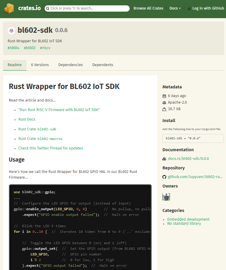 Rust Wrapper for BL602 IoT SDK