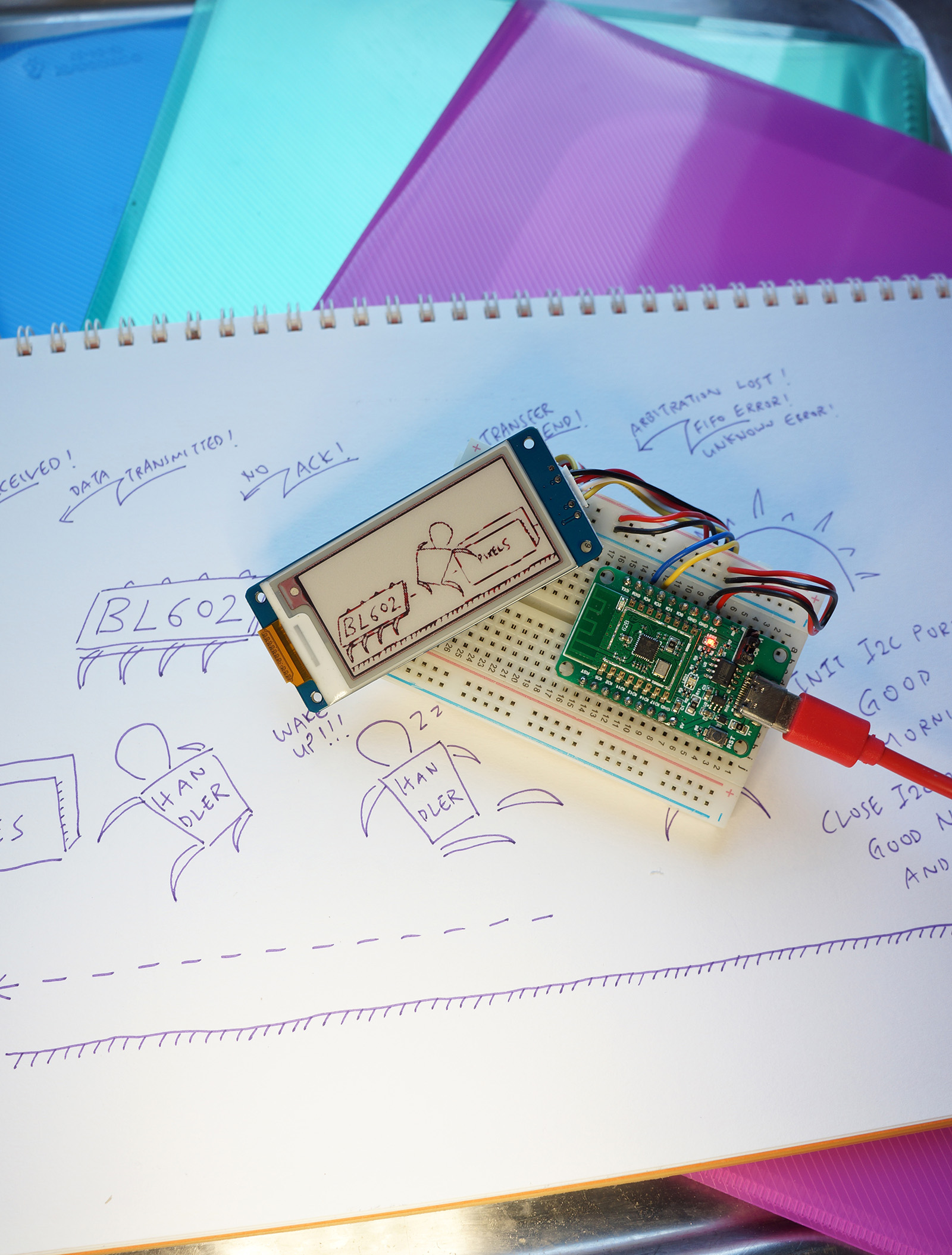 PineCone BL602 RISC-V Board with Grove E-Ink Display