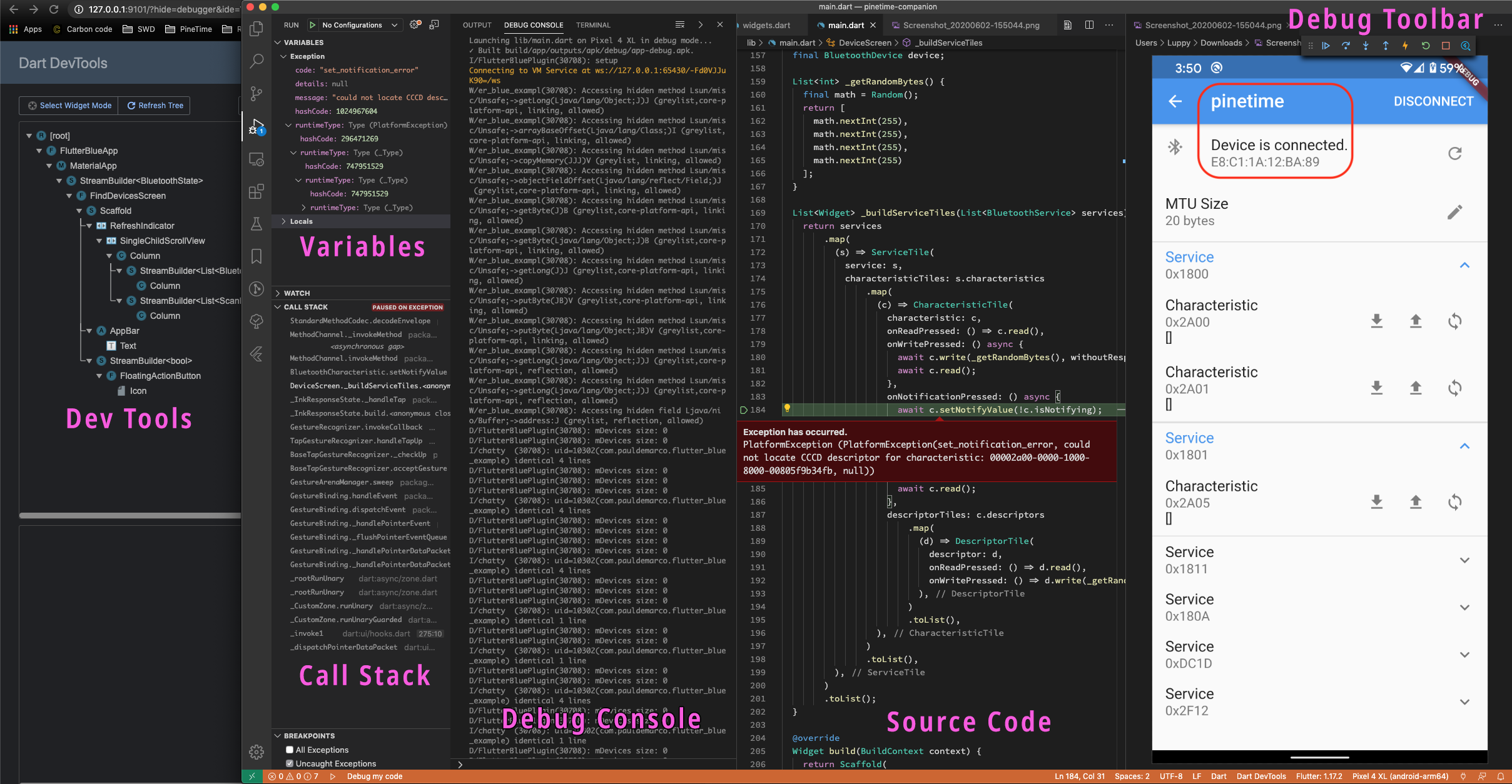 Flutter App with VSCode Debugger