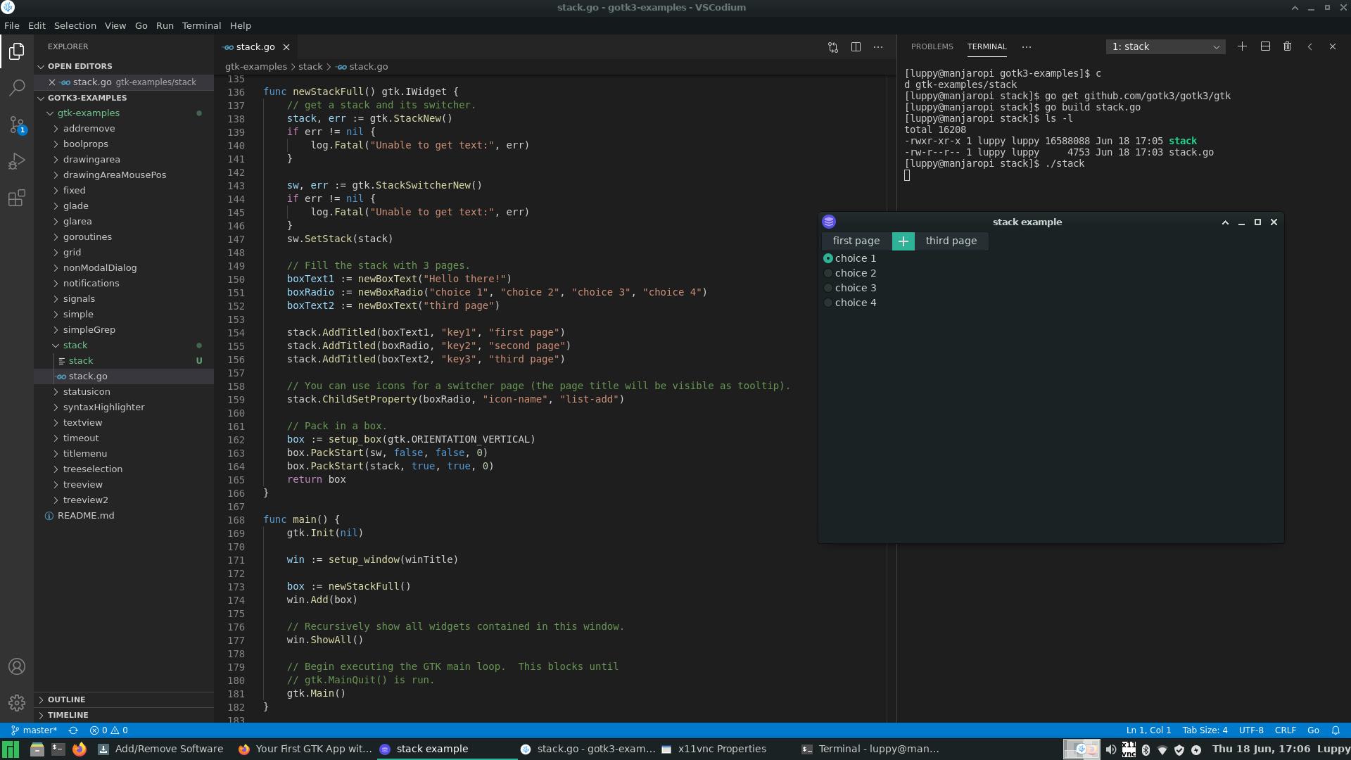 GTK+3 Go App with VSCodium and Manjaro Xfce 64-bit on Raspberry Pi 4 with 4 GB RAM
