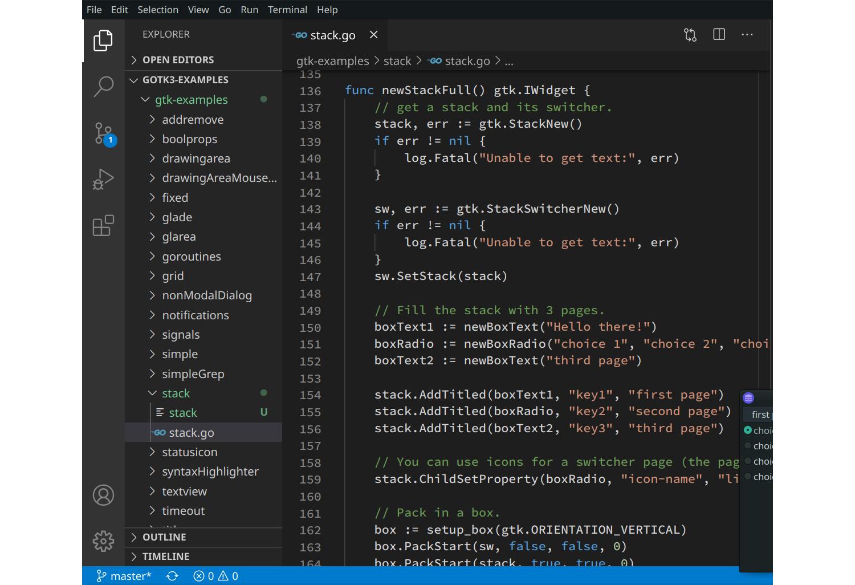 Source code of our GTK3 Go app in VSCodium