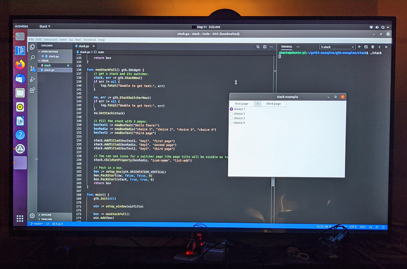 GTK+3 Go App with Ubuntu Desktop 20.04 64-bit on Raspberry Pi 4