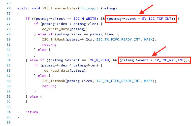 i2c_transferbytes: Assignment inside Condition