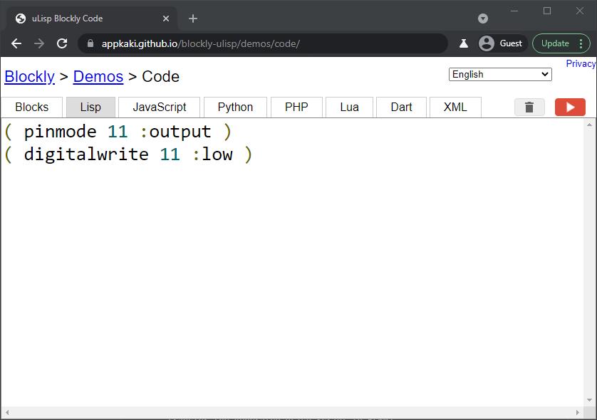 Blockly Web Editor: uLisp code for Digital Write