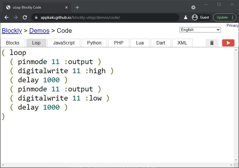Blockly Web Editor: uLisp code for Blinky
