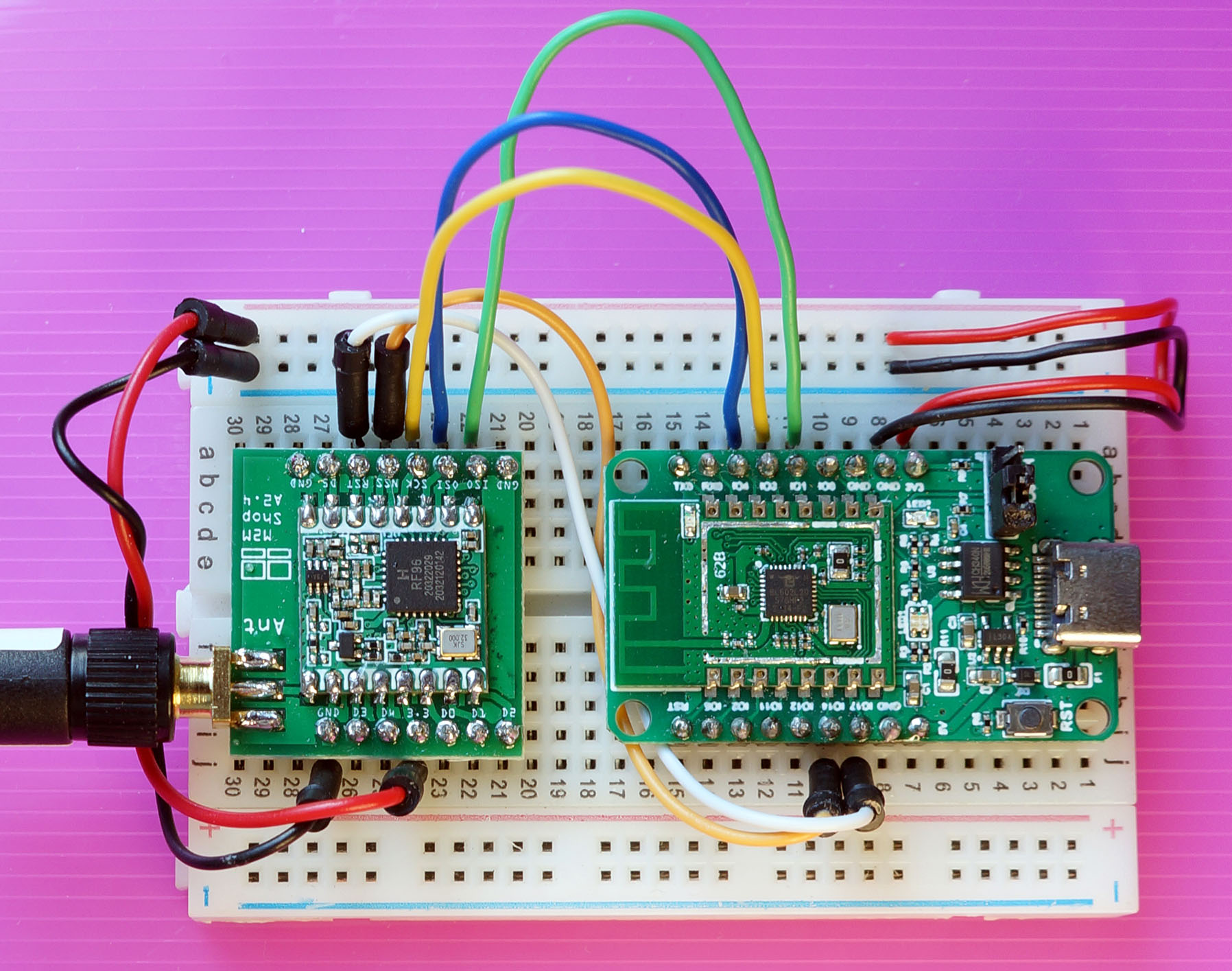 PineCone BL602 RISC-V Board connected to Hope RF96 LoRa Transceiver