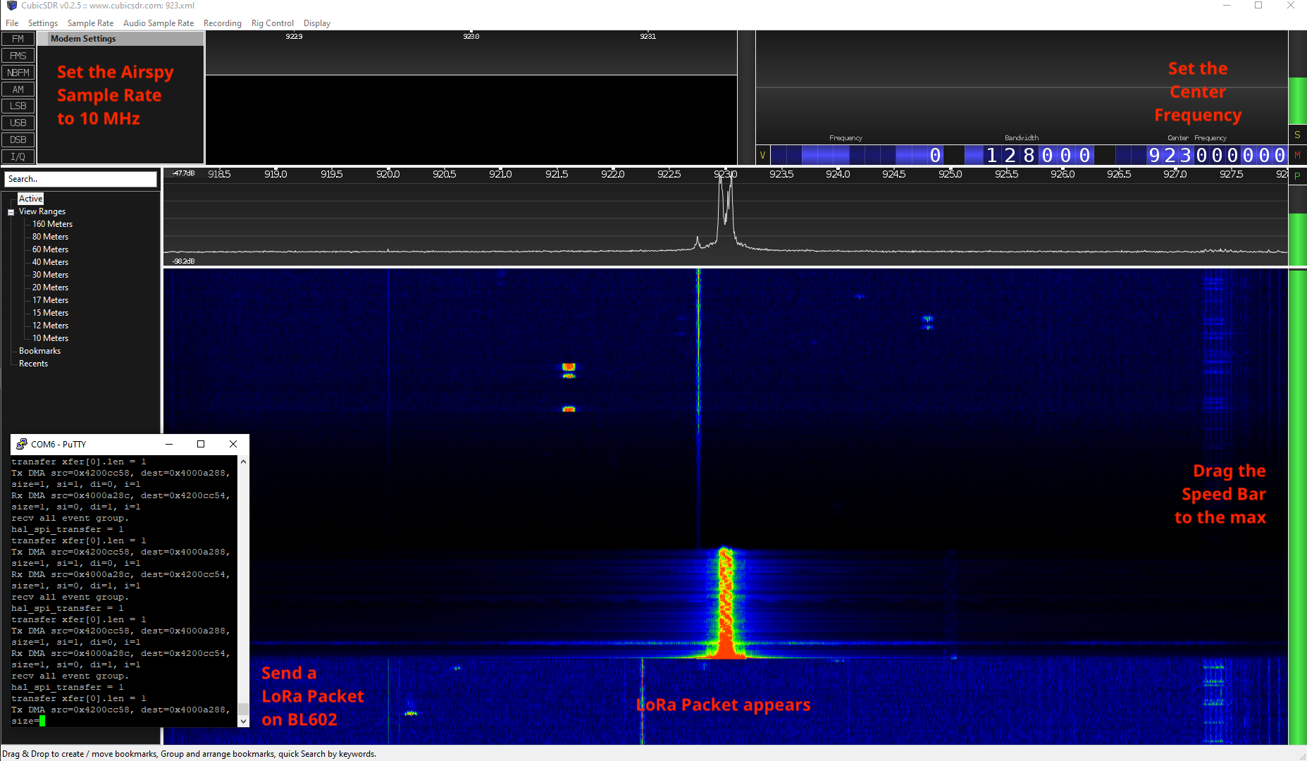 CubicSDR software with Airspy R2 SDR