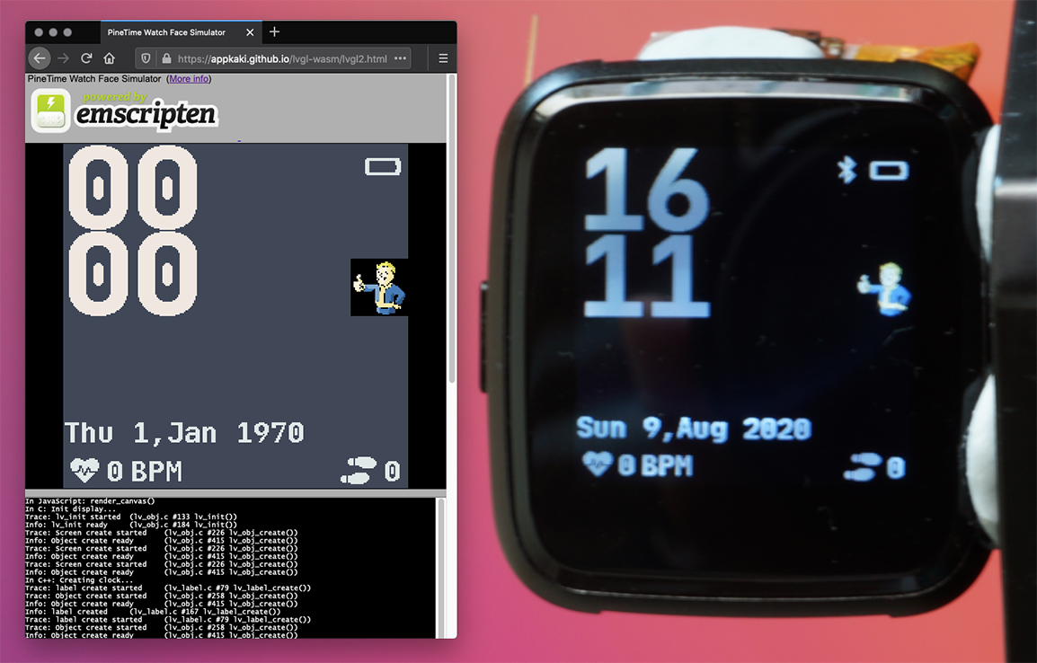 Custom PineTime Watch Face created in C++ by SravanSenthiln1: PineTime Watch Face Simulator vs Real PineTime
