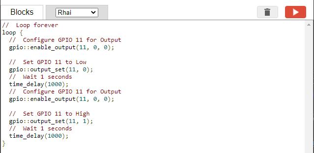 Rhai Script generated by Blockly