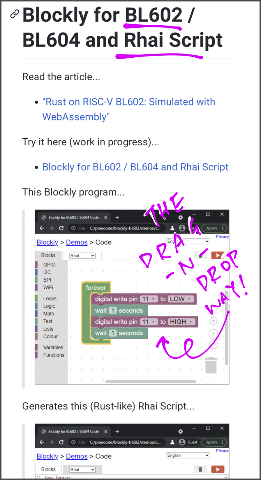 Blockly for BL602 / BL604 and Rhai Script
