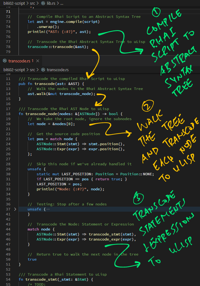 Converting the Abstract Syntax Tree to uLisp