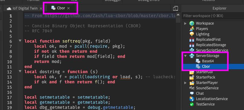 Create Cbor ModuleScript in Roblox Studio