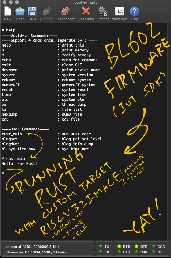 Our BL602 Rust Firmware running with CoolTerm