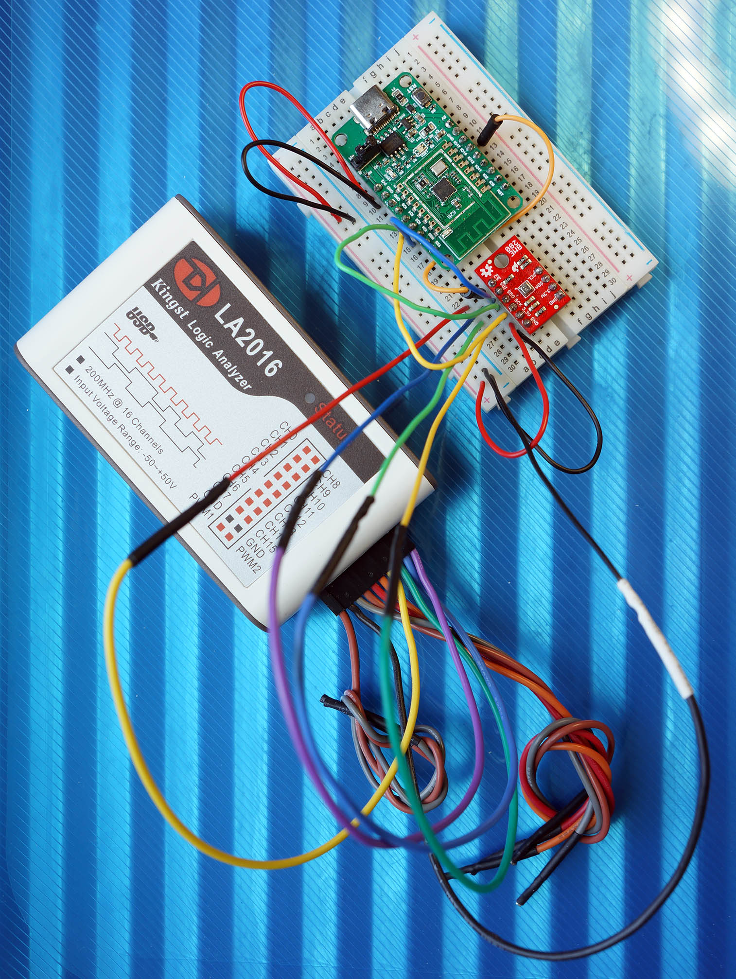 PineCone BL602 RISC-V Board connected to LA2016 Logic Analyser and BME280 SPI Sensor