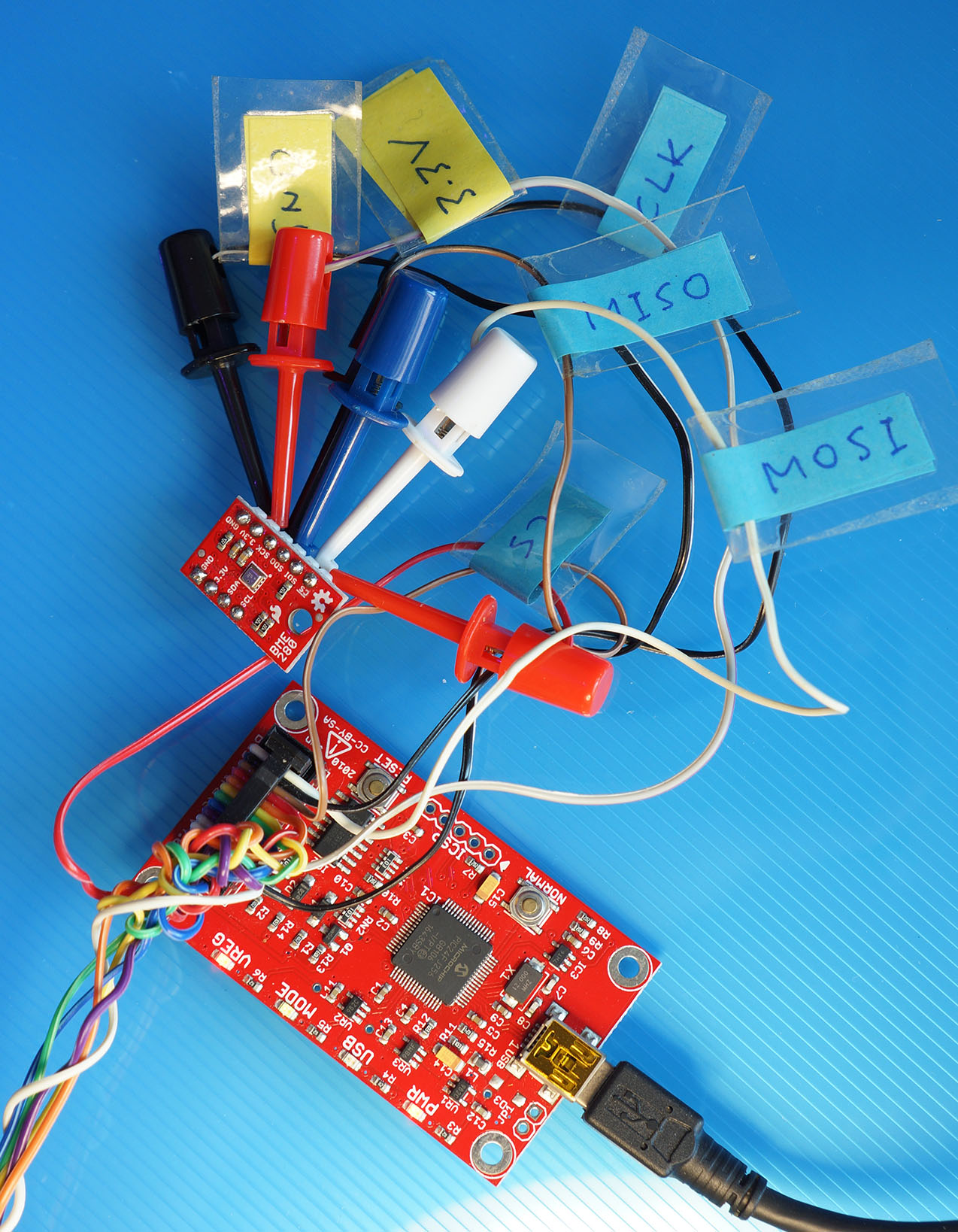 Bus Pirate connected to BME280 Sensor over SPI