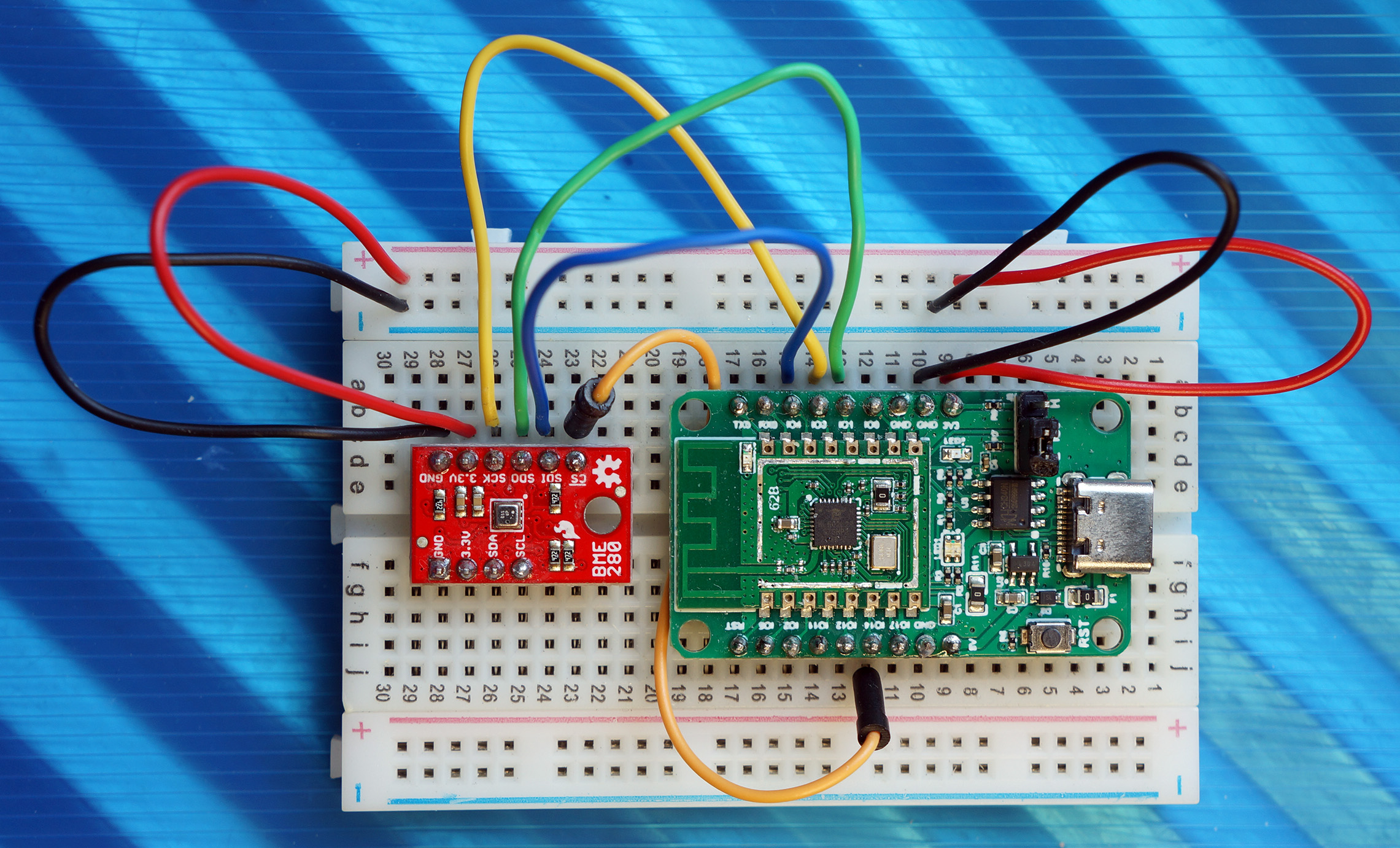 PineCone BL602 connected to SparkFun BME280 Sensor over SPI