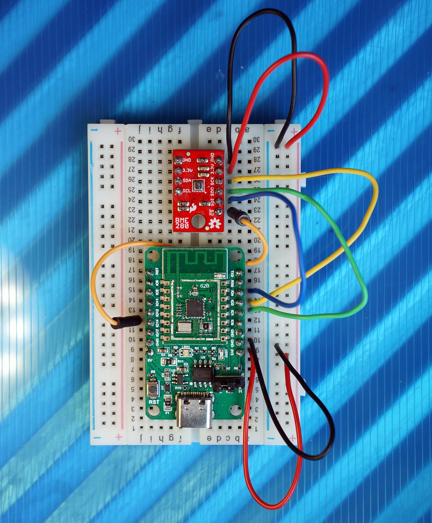 PineCone BL602 RISC-V Board connected to BME280 SPI Sensor