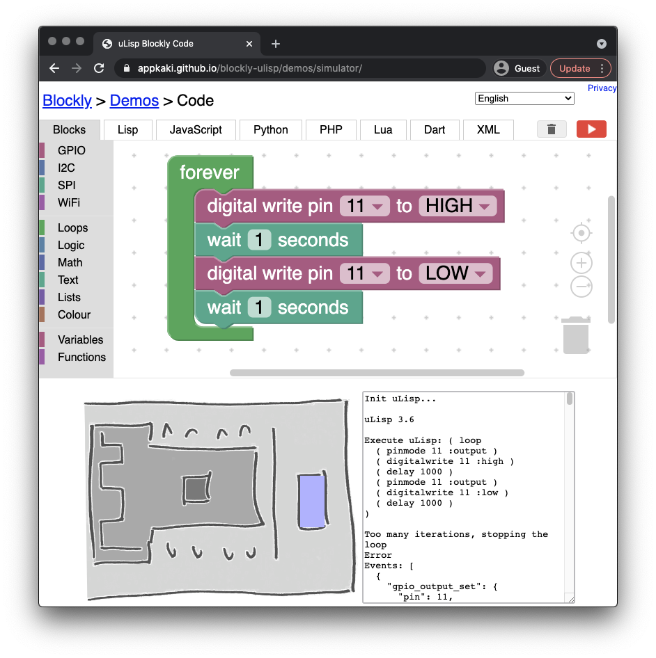 BL602 Simulator with Blockly and uLisp in WebAssembly