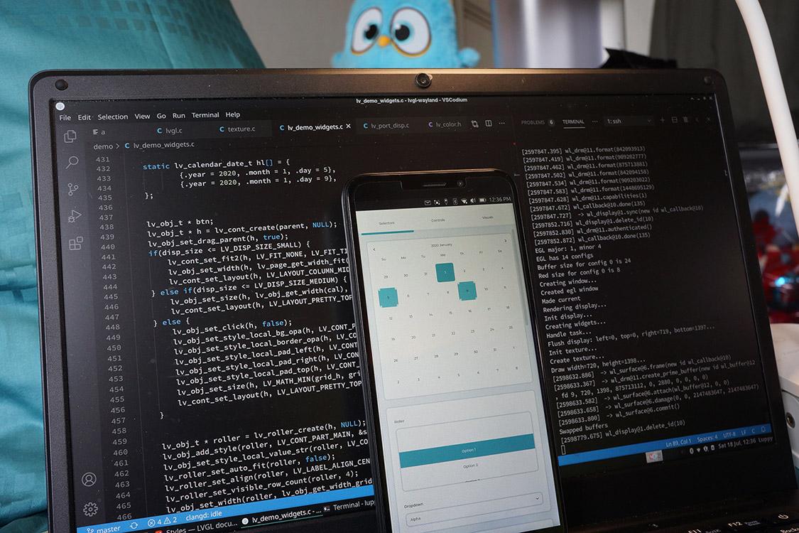 Work-in-progress LVGL GUI Framework ported to Wayland EGL on PinePhone with Ubuntu Touch