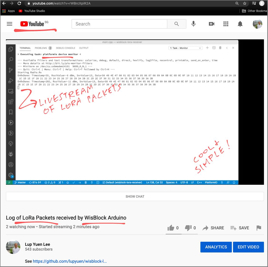 Livestream of WisBlock Arduino Log on YouTube